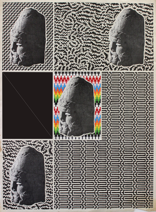 Craven, headssss, mixed media and ink on found paper, 2012,_email